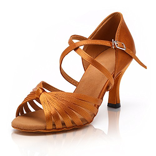DLisiting Womens Latin Shoes Adult Brown Satin Ballroom Salsa Dance Shoes 3'' Heel (US6)