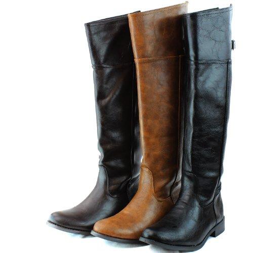 Nouvelles Dames Noires Au-dessus Du Genou Équitation Bottes De Cowboy Feat Fermeture À Glissière Latérale Chaussures