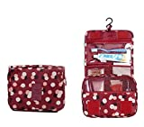 Best Travel Makeup Bag Itraveller Portable Hanging Toiletry Bag/ Portable Travel Organizer Cosmetic Bag for Women Makeup or Men Shaving Kit with Hanging Hook for vacation (Wine Red Daisy)