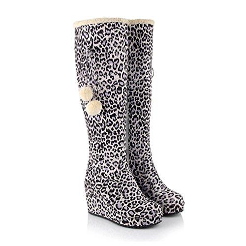 AIWEIYi Hidden Womens Knee White Wedges Leopard High Print Boots Zqr4wZxz
