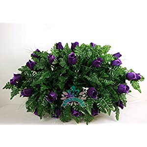 Beautiful XL Artificial Purple Roses Cemetery Flower Headstone Grave Decoration 31
