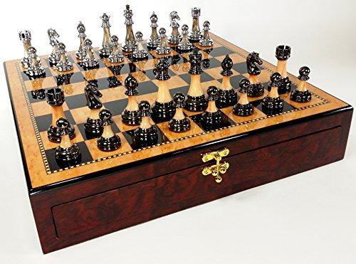 HPL Staunton Chrome & Black Chrome Chess Men Set W 17