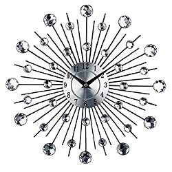 Wall Clocks - Magideal Home Decorative Crystal Wall Clock Sunburst Metal Time Diameter Ornamental Watch - Pictures Up Dollars Ocean Blue Girls Decor Rose Theme Silent