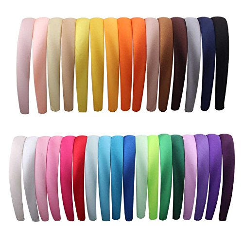 2cm Wide Satin Covered Alice Hair Band Headband(33colors Each Color 1pcs per Pack) - Satin Hat Band