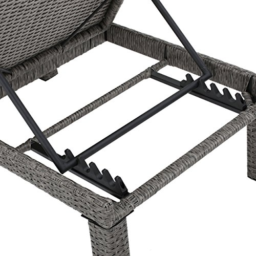 Christopher Knight Home 299932 Venice Outdoor Mixed Black Wicker Chaise Lounge with Dark Grey Water Resistan, Set of 2, by Christopher Knight Home (Image #3)