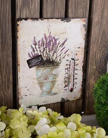 Thermometer 25 cm C und F Blechschild mit Rosen Antik Landhaus Shabby Chic