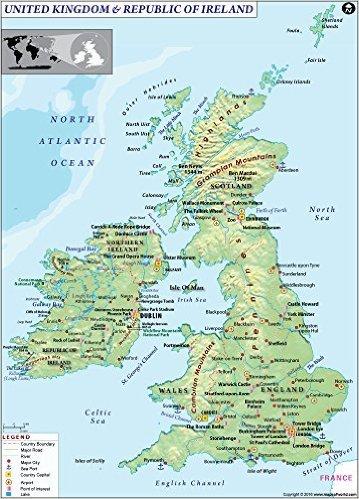 Map Of Ireland And The Uk.Amazon Com Uk And Ireland Land Use Map 36 W X 50 13 H Office