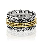 Paz Creations YG.925 Sterling Silver Spinner Ring With Gold Over Spinners, Made in Israel (11)