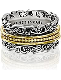 Paz Creations YG .925 Sterling Silver Spinner Ring with Gold Over Silver, Made in Israel