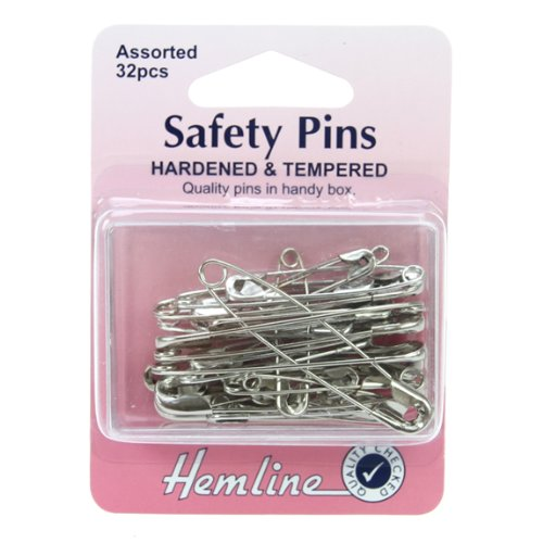 Hemline H410.99 Nickel Hardened & Tempered Safety Pins 27,34,38,46mm 32pk In Box