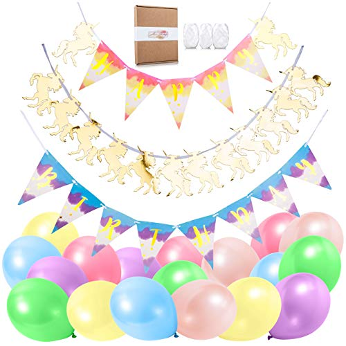 Unicorn Party Supplies - Shiny Gold Pre-Assembled Happy Birthday Banner Decorations Kit Cute Magical Rainbow Unicorn Theme with Bonus Free EBOOK