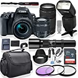 Canon EOS Rebel SL2 DSLR Camera 18-55mm & 75-300mm Lens (Black) Kit + 500mm Multi Stop Preset Lens + Speed Light Multi Mode Flash + Gadget Bag +3 Piece Filter Kit + Premium Accessory Bundle