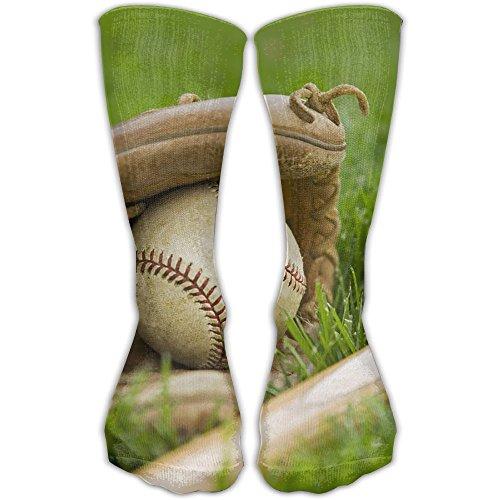 - Baseball On Green Grass Women & Men Socks Soccer Sport Tube Stockings Length 30cm