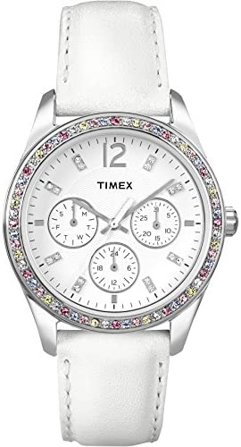 Timex Women s T2P385 Crystal Multi-Function White Leather Strap Watch