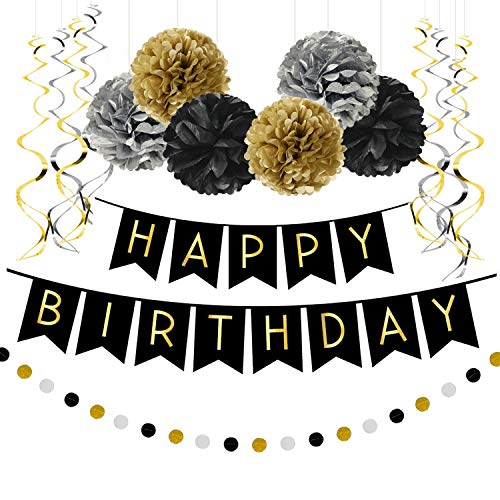 Famoby Happy Birthday Banner with Pom Poms Confetti Garland Set for Party Decorations