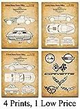 Original Corvette Patent Art Prints - Set of Four Photos (8x10) Unframed - Makes a Great Gift Under $20 for Corvette Owners