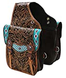 Showman Medium Oil Tooled Leather Saddle Bag with Teal Beaded Inlay