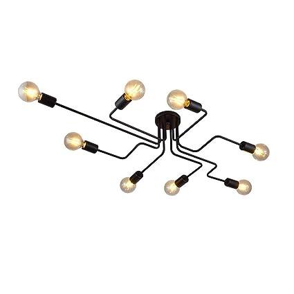 MBLIGHT Lámpara de Techo de 8 Brazos, Industrial Vintage LED ...