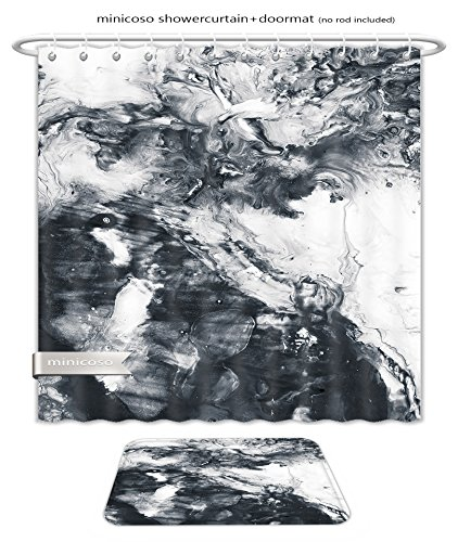 Minicoso Bath Two Piece Suit: Shower Curtains and Bath Rugs Abstract Hand Painted Black And White Background Acrylic Painting On Canvas Wallpaper Texture Shower Curtain and Doormat Set
