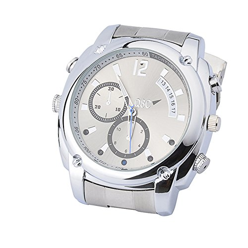 Watch Hidden Camera Watch Night Vision Mini Camera With Built-in Memory Card - Silver (16G) ()