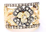 Levian Chocolate and White Diamonds Band Ring 1ct (clarity SI1-SI2) 14k Yellow Gold Size 5.5