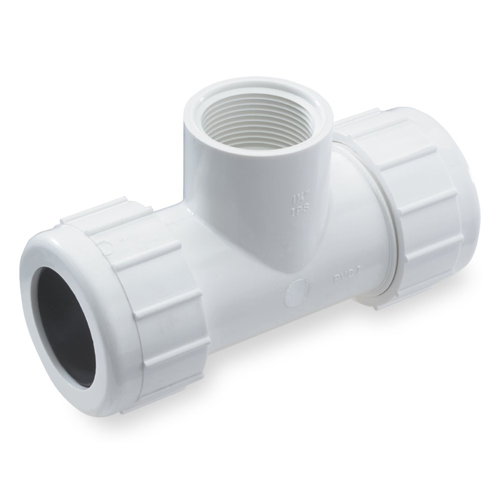 CPT-0750-T 3//4-Inch Threaded PVC Compression Tee Gray King Brothers Inc