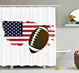 Ambesonne Sports Decor Collection, American Football Tradition Halftone Pattern of USA Flag Nation Tradition Image, Polyester Fabric Bathroom Shower Curtain Set with Hooks, Navy Red White Peru