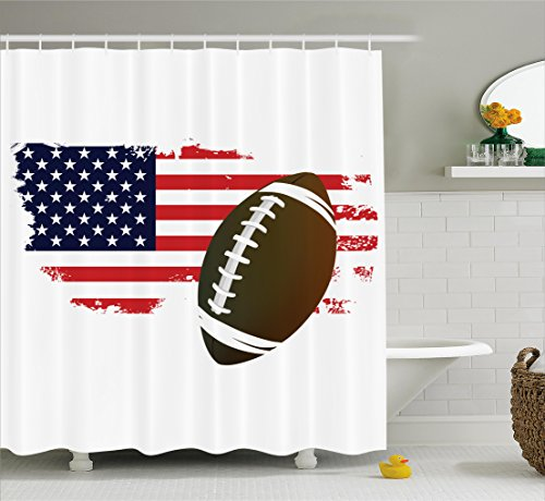 Football American Accessories (Ambesonne Sports Decor Collection, American Football Tradition Halftone Pattern of USA Flag Nation Tradition Image, Polyester Fabric Bathroom Shower Curtain Set with Hooks, Navy Red White Peru)