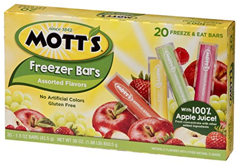 Mott's 100% Juice Freezer Bars, Fat Free, Assorted Flavors (20 - 1.5 oz bars per box)