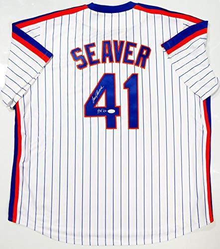 Tom Seaver Autographed New York Mets P/S Majestic Jersey w/HOF 92- JSA W Auth