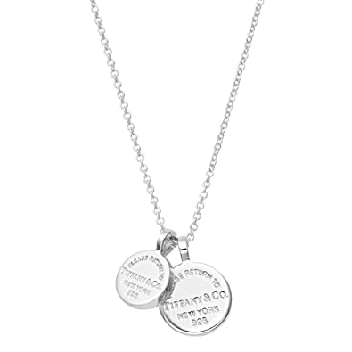 0db177428 Tiffany Sterling Silver Rtt Return To Tiffany Circle Duo Double Tag Pendant  Necklace 41~46Cm 34939012: Amazon.co.uk: Jewellery