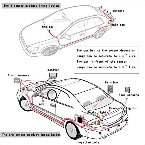 SODIAL Sensore di Parcheggio 8 Sensori Automobile Automobile Retromarcia Radar Parking Car Detector Parking Assistance Radar Retromarcia