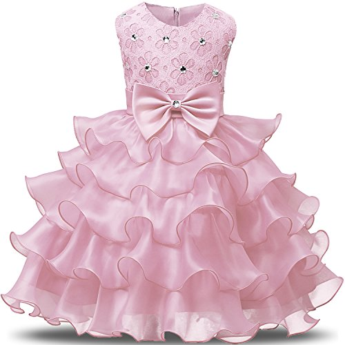 NNJXD Girl Dress Kids Ruffles Lace Party Wedding Dresses Size (130) 5-6 Years Pink