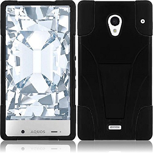 Sharp Aquos Crystal 306SH Case, Heavy Duty Hybrid 2 Piece Dual Layer Combo Hard Shell Exterior and Light Soft Silicone Rubber Interior Protector Cover by MEGATRONIC With Kickstand - Black/Black [With FREE Touch Screen Stylus Pen + Car Charger]