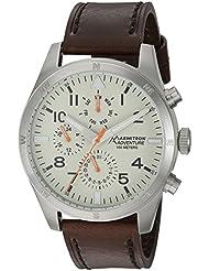 Armitron Adventure Mens AD/1003IVSVBN Multi-Function Dial Dark Brown Leather Strap Watch