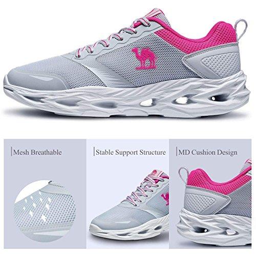 atléticas Zapatillas los Deporte Zapatos a Zapatillas para Deportivas Golpes y para Transpirables Gris de Correr Trail Mujer Resistentes nPYBqPrX
