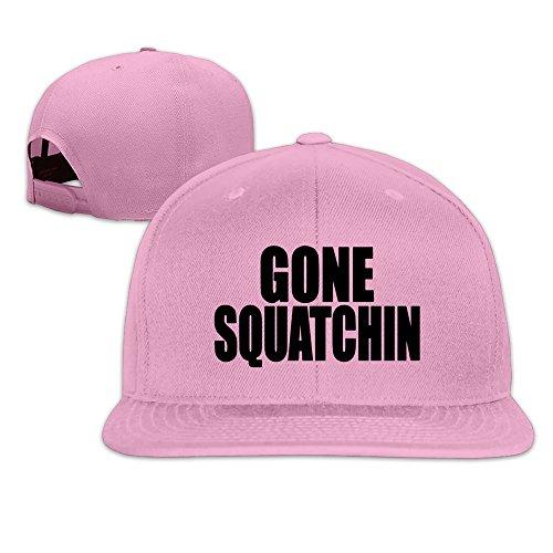 BASEE Funny GONE SQUATCHIN Adjustable Flat Along Baseball Cap Pink Unisex One Size