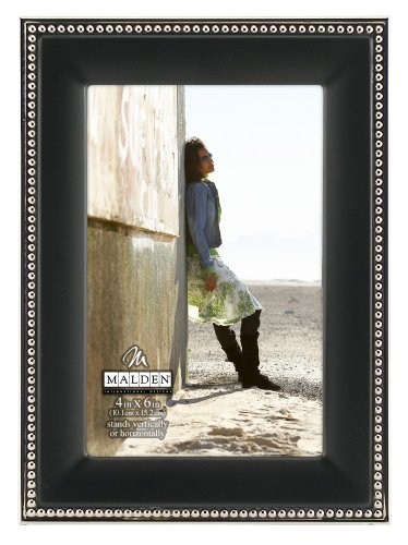 Malden International Designs Classic Black Metal With Silver Beads 2-Tone Picture Frame, 4x6, - Accent Silver Tone Metal