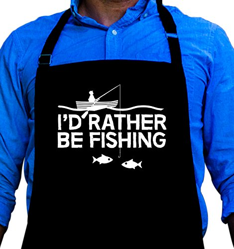 I'd Rather Be Fishing Apron - Funny BBQ Grill Apron for Fishermen - 1 Size Fits All Chef Quality Poly/Cotton 4 Utility Pockets, Adjustable Neck and Extra Long Waist Ties Fishing Apron