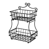 Linkfu 2 Tier Fruit/Bread Basket Removable Screwless Metal Storage Basket Rack for Snack, Bread, Fruit, Vegetables, Counter, Table, Kitchen and Home - Black