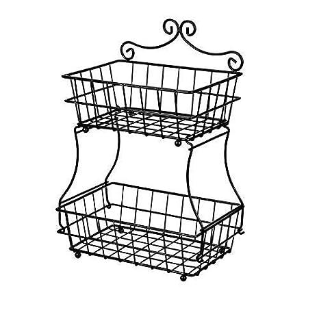 Amazon Com Linkfu 2 Tier Fruitbread Basket Removable Screwless