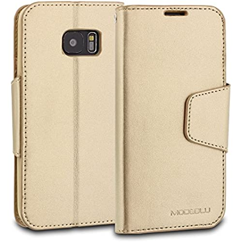 Galaxy S7 Case, ModeBlu [Classic Diary Series] [Gold] Wallet Case ID Credit Card Cash Slots Premium Synthetic Sales
