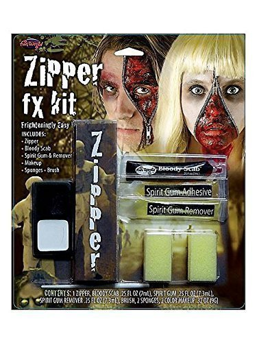 Fun World Unisex-Adult's Zipper Fx Makeup Kit, Multi, Standard -