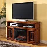 "Dwyer 57"" TV Stand with Electric Fireplace Finish: Burnished Pecan"