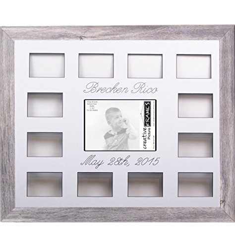 (Custom Calligraphy 12 Month Timeline Newborn Collage 18 by 22-inch Picture Frame with White Mat and Wall Hangers)