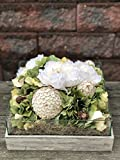 Green Hydrangeas and White Peonies in Hand Painted Wooden Planter