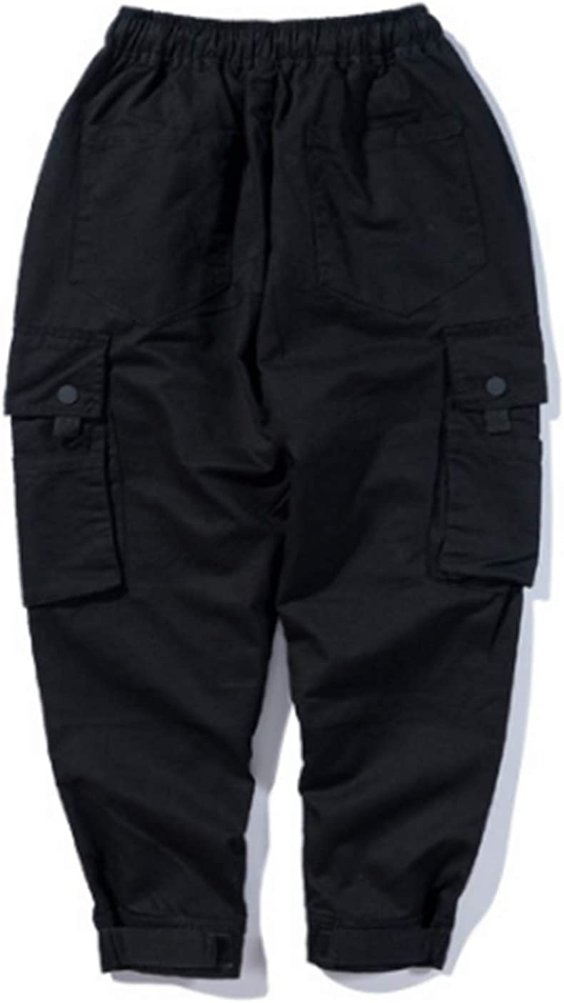 Mens Casual Cargo Pants Pure Color Work Pants Slacks Overalls