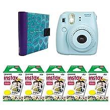 Nifty NIAL-100BL8BL Instax Mini Photo Album (Turquoise/Purple) with Instax Mini 8 Camera (Blue), 100 Exposures of Fuji Instax Mini Film