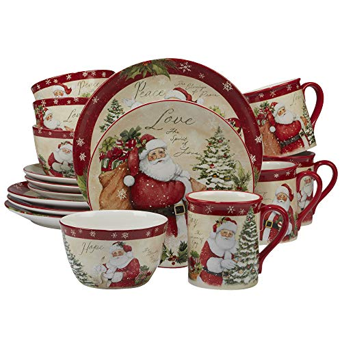 (Certified International 89127 Holiday Wishes 16 piece Dinnerware Set, Set of 4, One Size, Mulicolored)