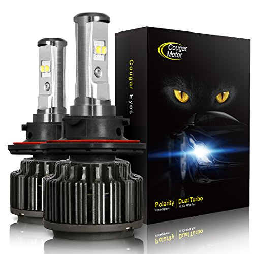 Cougar Motor H13 LED Headlight Bulbs, 9008 High/Low All-in-One Conversion Kit,7200 Lumen (6000K Cool White) - Adjustable Beam Pattern
